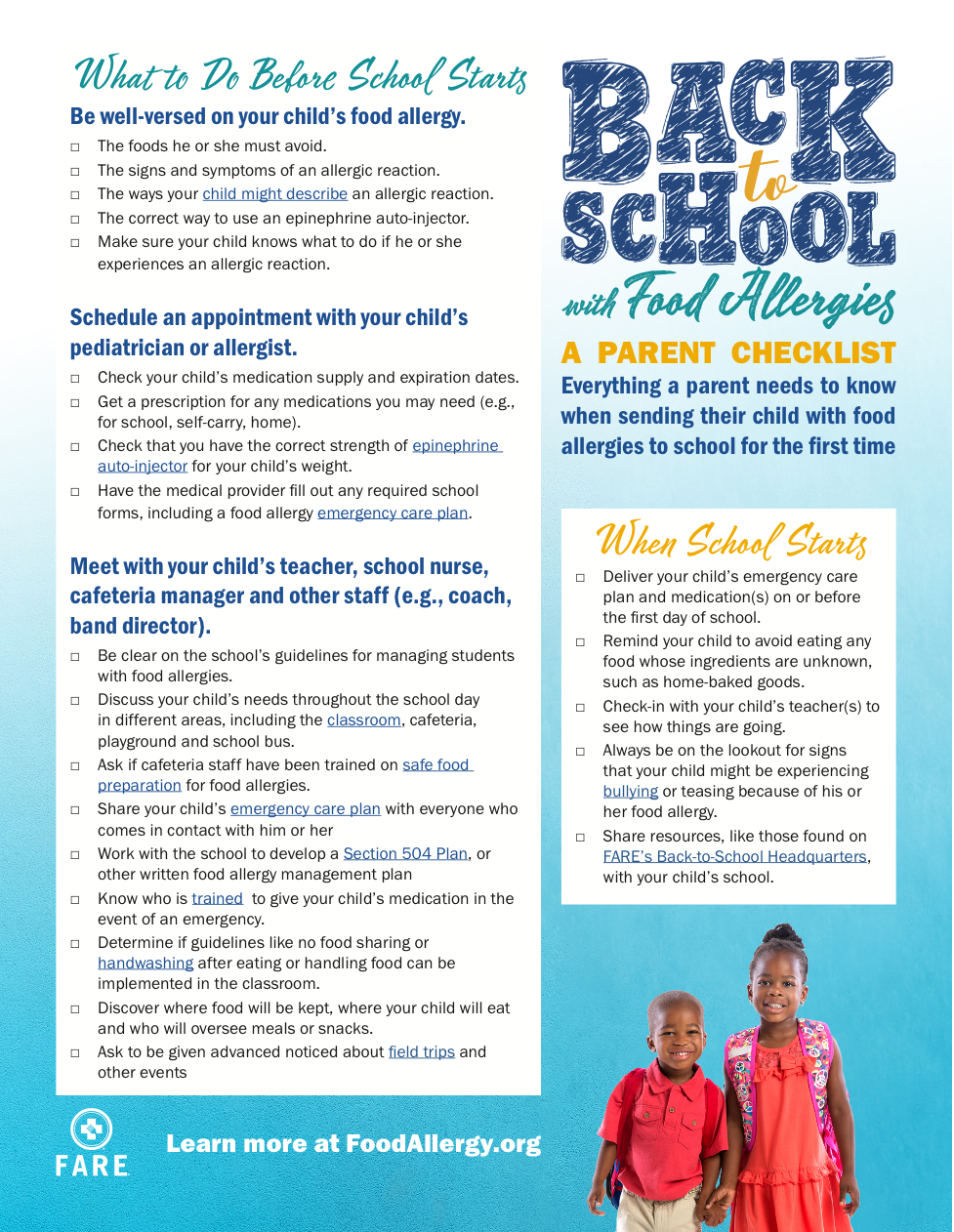 Going back to school with Food Allergies